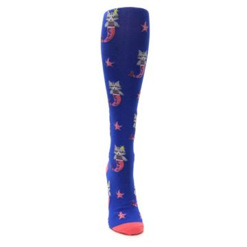 Image of Blue Coral Purrmaid Cat Women's Knee High Sock (front-04)