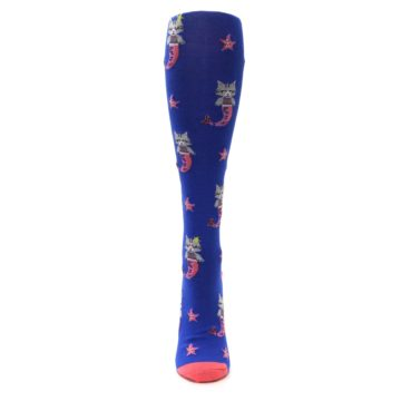 Image of Blue Coral Purrmaid Cat Women's Knee High Sock (front-05)