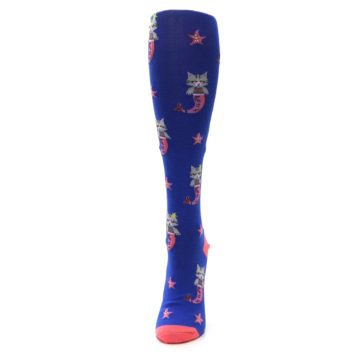 Image of Blue Coral Purrmaid Cat Women's Knee High Sock (side-2-front-06)