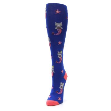 Image of Blue Coral Purrmaid Cat Women's Knee High Sock (side-2-front-07)