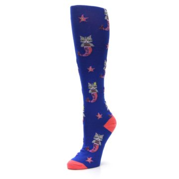 Image of Blue Coral Purrmaid Cat Women's Knee High Sock (side-2-09)