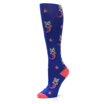 Image of Blue Coral Purrmaid Cat Women's Knee High Sock (side-2-10)