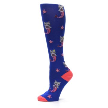 Image of Blue Coral Purrmaid Cat Women's Knee High Sock (side-2-11)