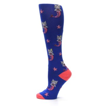 Image of Blue Coral Purrmaid Cat Women's Knee High Sock (side-2-12)