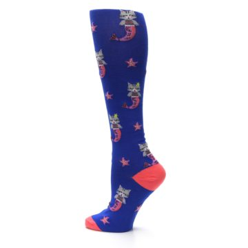 Image of Blue Coral Purrmaid Cat Women's Knee High Sock (side-2-13)