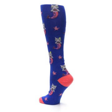 Image of Blue Coral Purrmaid Cat Women's Knee High Sock (side-2-back-14)