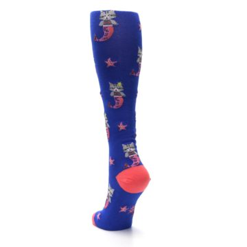 Image of Blue Coral Purrmaid Cat Women's Knee High Sock (side-2-back-16)