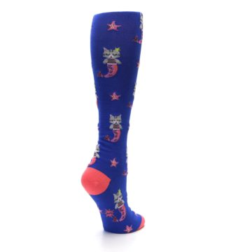 Image of Blue Coral Purrmaid Cat Women's Knee High Sock (side-1-back-22)