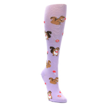 Image of Purple Brown Squirreling Around Women's Knee High Sock (side-1-front-02)