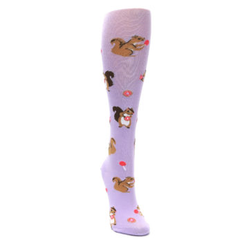 Image of Purple Brown Squirreling Around Women's Knee High Sock (side-1-front-03)