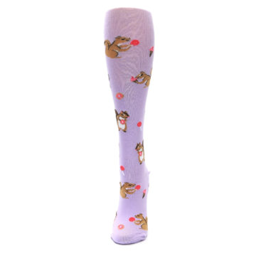 Image of Purple Brown Squirreling Around Women's Knee High Sock (side-2-front-06)