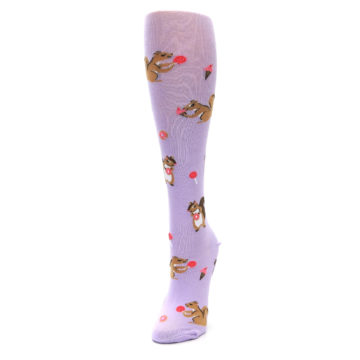 Image of Purple Brown Squirreling Around Women's Knee High Sock (side-2-front-07)