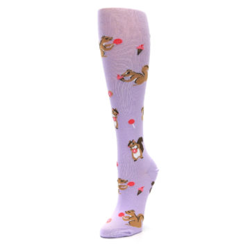 Image of Purple Brown Squirreling Around Women's Knee High Sock (side-2-front-08)
