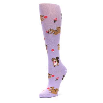 Image of Purple Brown Squirreling Around Women's Knee High Sock (side-2-09)