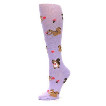 Image of Purple Brown Squirreling Around Women's Knee High Sock (side-2-10)