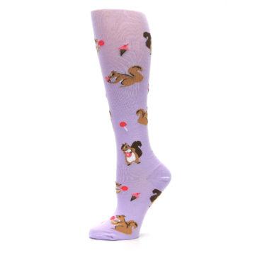 Image of Purple Brown Squirreling Around Women's Knee High Sock (side-2-11)