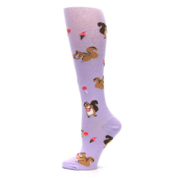 Image of Purple Brown Squirreling Around Women's Knee High Sock (side-2-12)