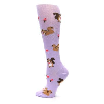Image of Purple Brown Squirreling Around Women's Knee High Sock (side-2-13)