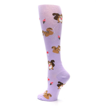 Image of Purple Brown Squirreling Around Women's Knee High Sock (side-2-back-14)
