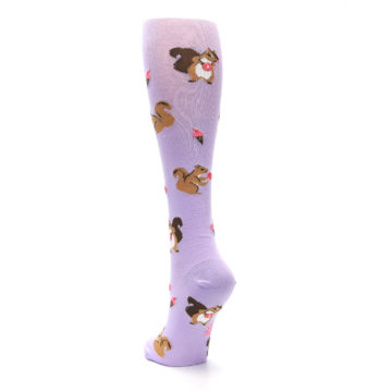 Image of Purple Brown Squirreling Around Women's Knee High Sock (side-2-back-16)