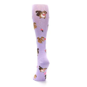 Image of Purple Brown Squirreling Around Women's Knee High Sock (back-17)