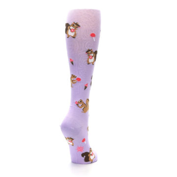 Image of Purple Brown Squirreling Around Women's Knee High Sock (side-1-back-21)