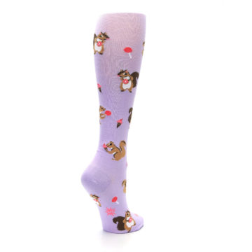Image of Purple Brown Squirreling Around Women's Knee High Sock (side-1-back-22)