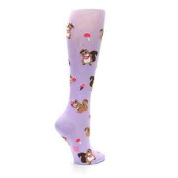 Image of Purple Brown Squirreling Around Women's Knee High Sock (side-1-23)