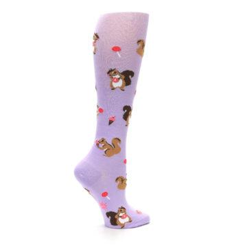 Image of Purple Brown Squirreling Around Women's Knee High Sock (side-1-24)