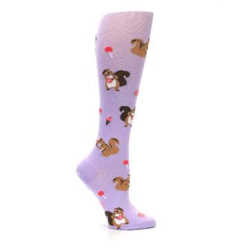 Image of Purple Brown Squirreling Around Women's Knee High Sock (side-1-25)