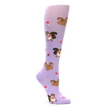 Image of Purple Brown Squirreling Around Women's Knee High Sock (side-1-26)