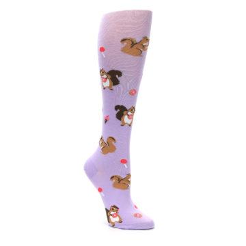 Image of Purple Brown Squirreling Around Women's Knee High Sock (side-1-27)
