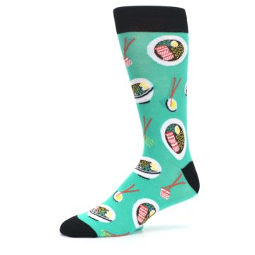 Image of Seafoam Ra-Man Noodles Men's Dress Socks (side-2-10)