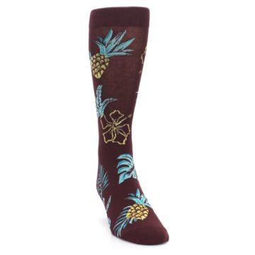 Image of Brown Blue Hawaiian Day Men's Dress Socks (side-1-front-03)