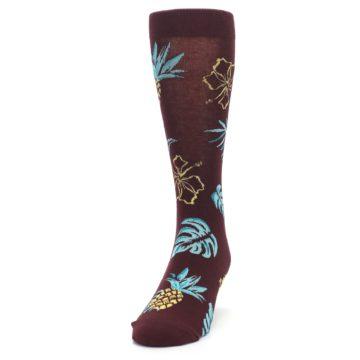 Image of Brown Blue Hawaiian Day Men's Dress Socks (side-2-front-06)