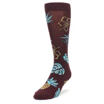 Image of Brown Blue Hawaiian Day Men's Dress Socks (side-2-front-07)