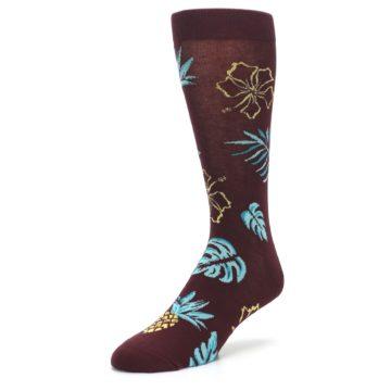 Image of Brown Blue Hawaiian Day Men's Dress Socks (side-2-front-08)