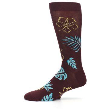 Image of Brown Blue Hawaiian Day Men's Dress Socks (side-2-11)