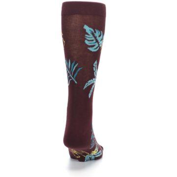 Image of Brown Blue Hawaiian Day Men's Dress Socks (back-19)