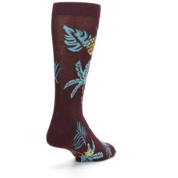 Image of Brown Blue Hawaiian Day Men's Dress Socks (side-1-back-21)