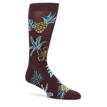 Image of Brown Blue Hawaiian Day Men's Dress Socks (side-1-26)