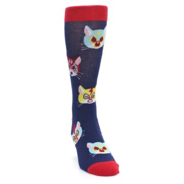 Image of Navy Red Gato Libre Cats Men's Dress Socks (side-1-front-03)