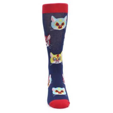 Image of Navy Red Gato Libre Cats Men's Dress Socks (front-04)