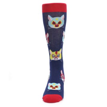 Image of Navy Red Gato Libre Cats Men's Dress Socks (front-05)