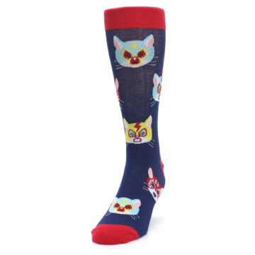 Image of Navy Red Gato Libre Cats Men's Dress Socks (side-2-front-06)