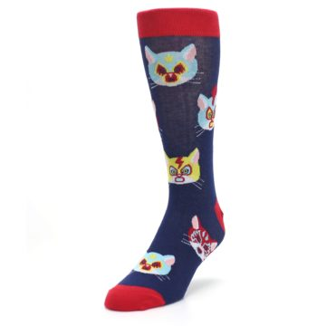 Image of Navy Red Gato Libre Cats Men's Dress Socks (side-2-front-07)