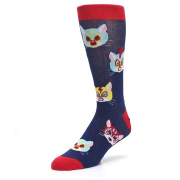 Image of Navy Red Gato Libre Cats Men's Dress Socks (side-2-front-08)