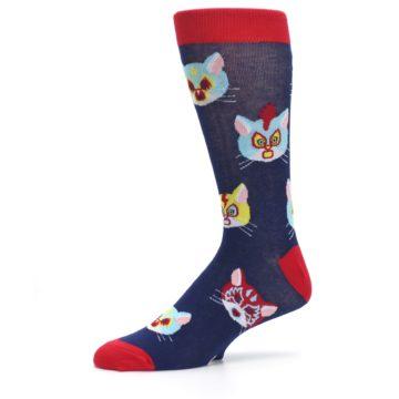 Image of Navy Red Gato Libre Cats Men's Dress Socks (side-2-10)