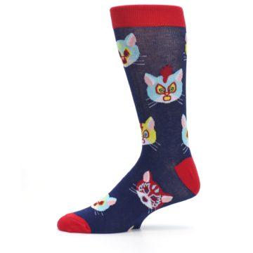 Image of Navy Red Gato Libre Cats Men's Dress Socks (side-2-11)
