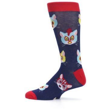 Image of Navy Red Gato Libre Cats Men's Dress Socks (side-2-12)